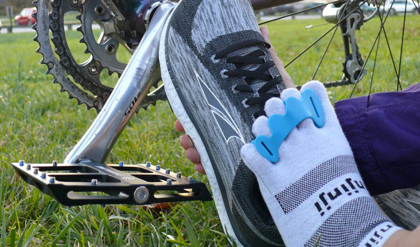 Black Catalyst Pedals, Correct Toes toe spacers, Injinji toe socks, and Altra athletic shoes