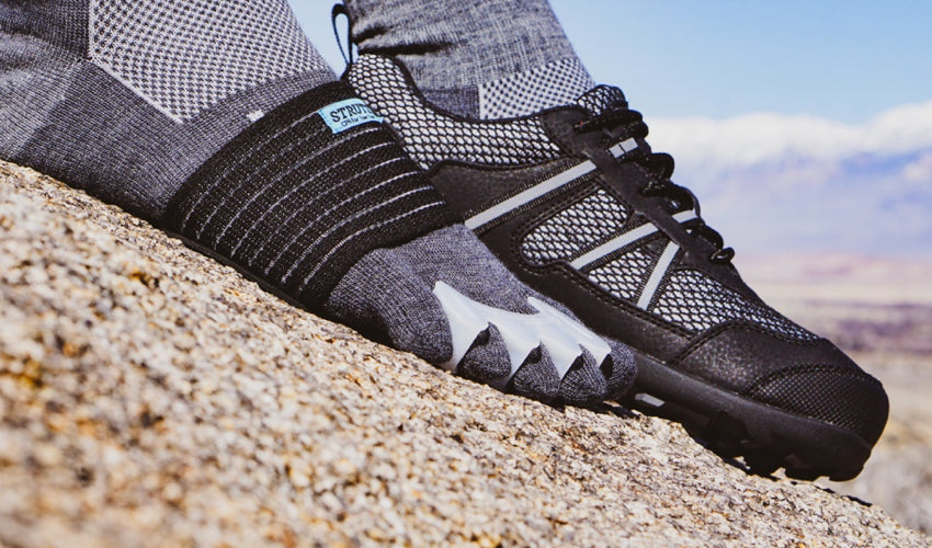 A helpful footgear combo: Correct Toes, Strutz foot pads, Injinji toe socks, and Xero TerraFlex trail shoes