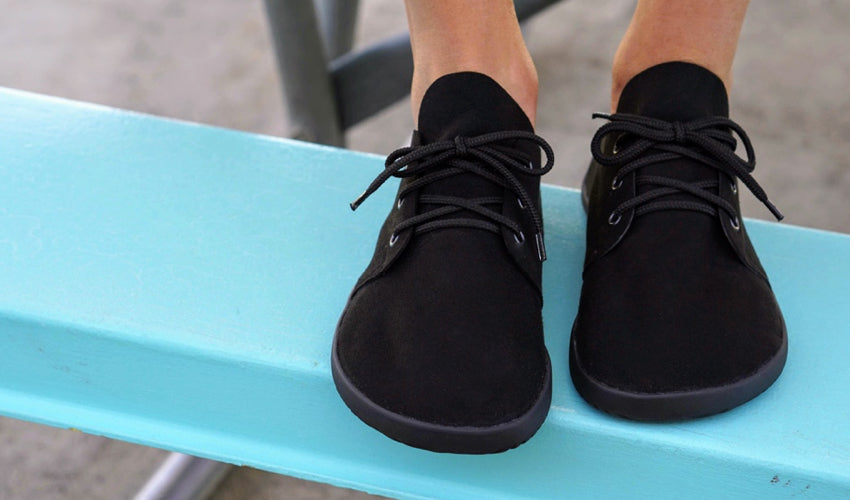 The wide toe box of Ahinsa Bindu Bare Black casual shoes