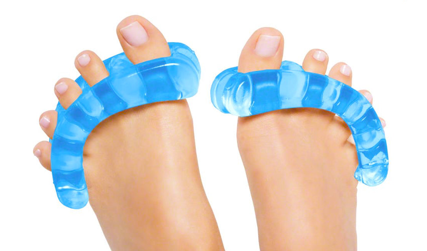 A close-up view of Yoga Toes, another brand of toe spacers