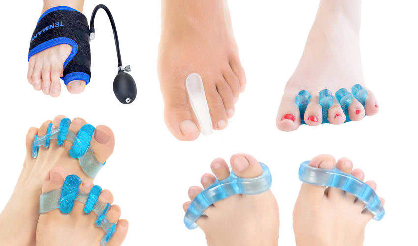 A sampling of the many cheap and gimmicky toe spacers available on Amazon