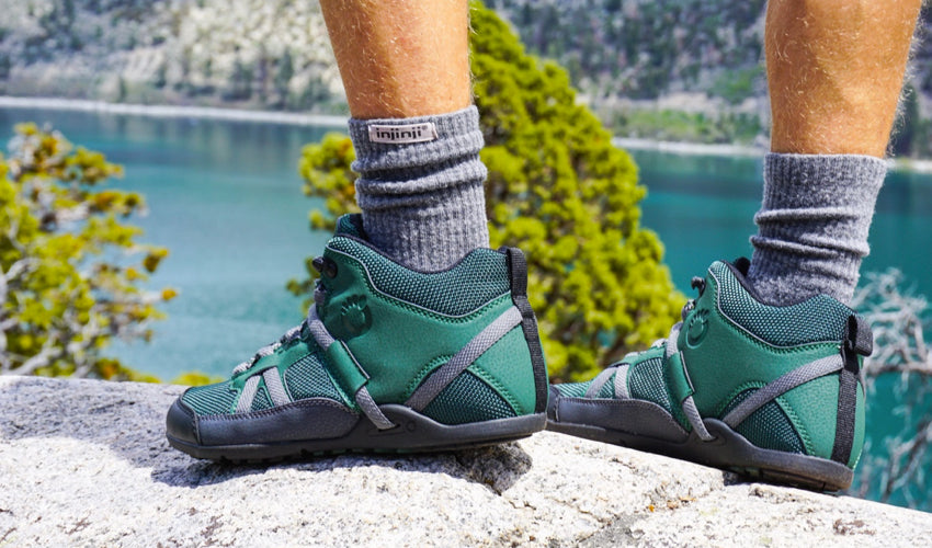 Hiker wearing Xero DayLite Hiker EV boots in Pine looking out over a green mountain lake