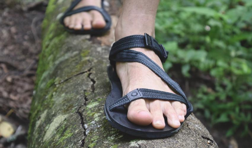 A person wearing Xero Z-Trail sports sandals walking on a log in the forest