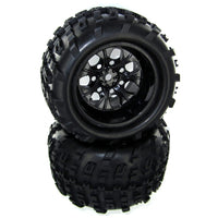 Redcat Racing Rampage XT 10mm Version Axle Black Wheels & Tires Complete, 2pcs 07065-10