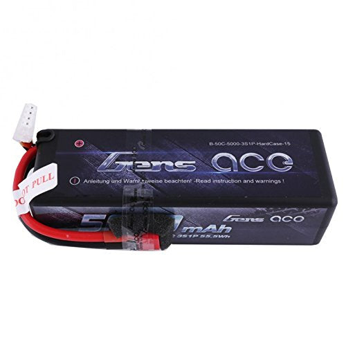 Gens Ace 5000mAh 11.1V 50C 3S1P HardCase Lipo Battery15# with Deans plug