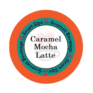 Caramel Mocha Latte, Latte, Cappuccino, Smart Sips Coffee, single serve, k cup, kcup, k-cup, kosher, gluten free, one step latte