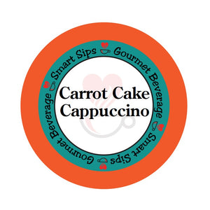 Carrot Cake Cappuccino, Smart Sips Coffee, gourmet flavored cappuccino, latte, dessert inspired, single serve, single-serve, pod, pods, keurig compatible, kcup, k cup, k-cup, holiday beverage, drink your dessert, low calorie, low carb, low sugar