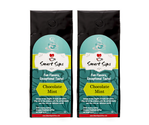 smart sips coffee, coffee. ground coffee, chocolate mint, flavored gourmet coffee, 100% arabica
