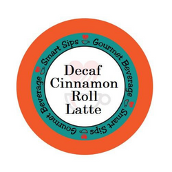 Decaf Cinnamon Roll Latte, Gourmet Flavored Coffee, Flavored Coffee, Coffee, Smart Sips Coffee, Single Serve, kcup, k cup, k-cup, pod, pods, keurig, kosher, gluten free