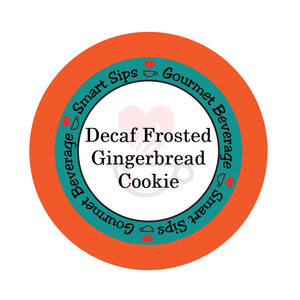 Decaf Frosted Gingerbread Cookie, Gourmet Flavored Coffee, Smart Sips Coffee, holiday coffee, christmas coffee, winter coffee, single serve, single-serve, keurig machine compatible, kcup, k cup, k-cup, pods, pod, no carb, zero carb, no sugar, zero sugar, low calorie, dessert coffee, decaffeinated