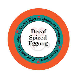 Decaf Spiced Eggnog, Smart Sips Coffee, decaffeinated coffee, gourmet flavored beverage, holiday coffee, christmas coffee, flavored coffee, single serve, single-serve, keurig machine compatible, kcup, k cup, k-cup, carb free, sugar free, 2 calories, low calorie