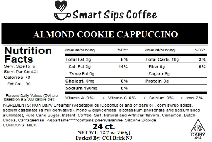 Almond Cookie Cappuccino, Gourmet Cappuccino Pods, For Keurig K-cup Brewers