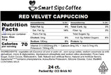 red velvet cappuccino nutrition label k cup kcup k-cup keurig brewer single serve pod pods nutrition facts calories low calorie low carbs 24 count ct