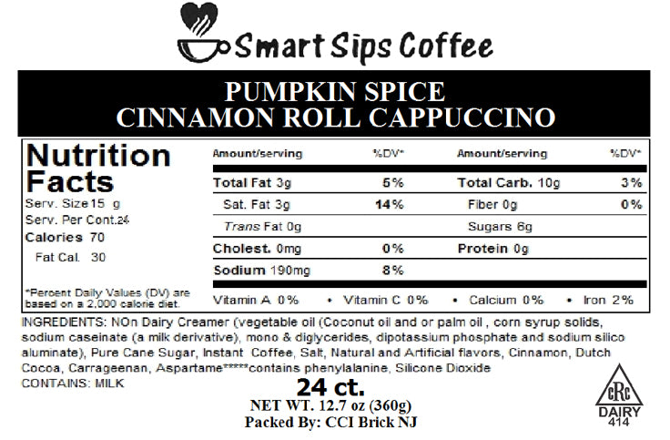 Pumpkin Spice Cinnamon Roll Cappuccino, for Keurig K-cup Brewers
