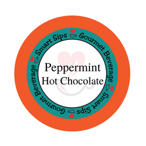 peppermint hot chocolate, smart sips coffee gourmet flavored hot cocoa, low calorie, low sugar, low carb, flavored hot chocolate, kosher, gluten free, single serve, kcup, k cup, k-cup, pod, pods, keurig