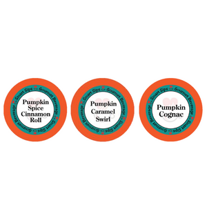 pumpkin spice lovers variety sampler pack, pumpkin flavored gourmet coffee, smart sips coffee, k cup, kcup, k-cup, single serve, pod, pods, keurig
