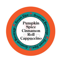 smart sips coffee, pumpkin spice cinnamon roll coffee cappuccino latte, pumpkin coffee, fall, contains dairy, low calorie, low sugar, low carb, keurig k cup kcup, k-cup, pod, pre-sweetened, one step latte cappuccino, kosher