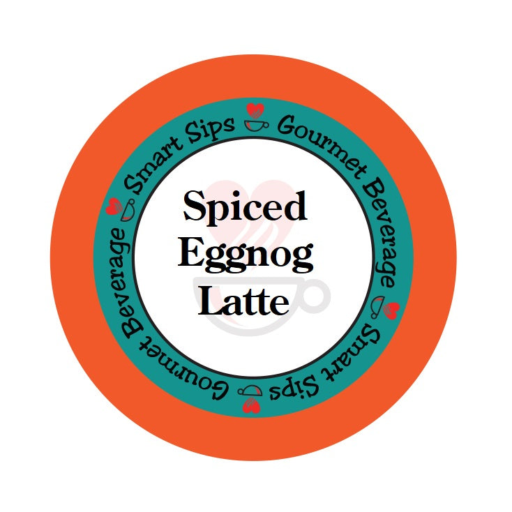 spiced eggnog latte, cappuccino, single serve pod, 24 count pods, smart sips coffee, one step latte, holiday seasonal flavored latte, low calorie, low sugar, low carb, keurig, k cup, kcup, k-cup, pod, brew, kosher, gluten free, trans fat free