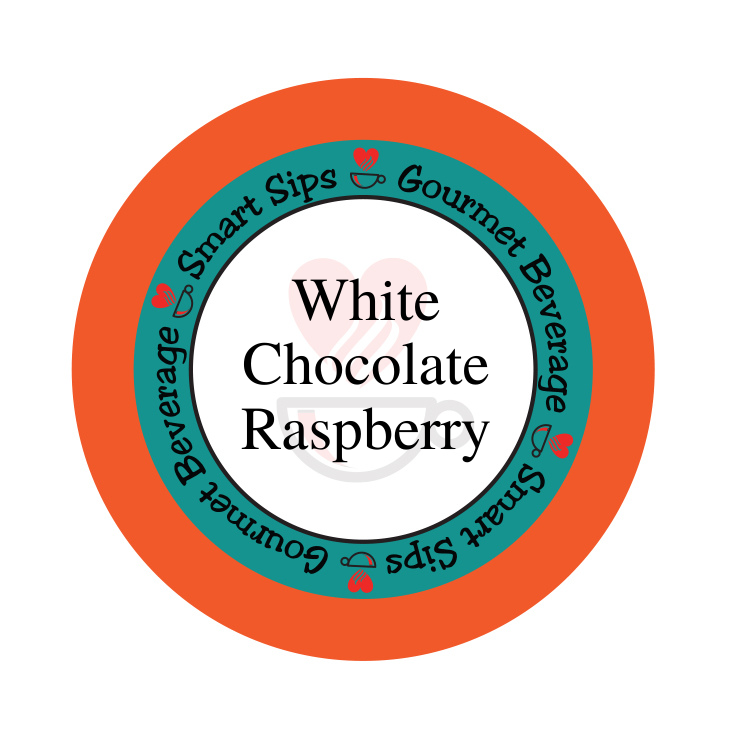white chocolate raspberry gourmet flavored coffee, smart sips coffee, flavored coffee, kosher, gluten free, no sugar, no carb, carb free, sugar free, single serve, pod, pods, kcup, k-cup, k cup, keurig