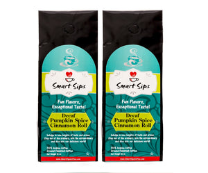 Smart Sips Coffee, decaf, decaffeinated, decaf pumpkin spice cinnamon roll coffee, ground coffee, pumpkin flavored coffee, gourmet coffee, bagged coffee, arabica, medium roast, kosher, parve, caffeine-free, sugar-free, carb-free, keto coffee, ww coffee