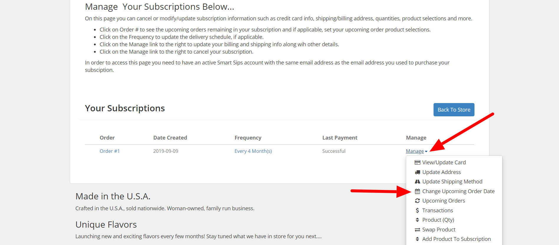 Manage Each Subscription