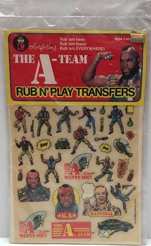 (TAS000219) - 1983 ColorForms The A-Team Rub N' Play Transfers Mr. T.