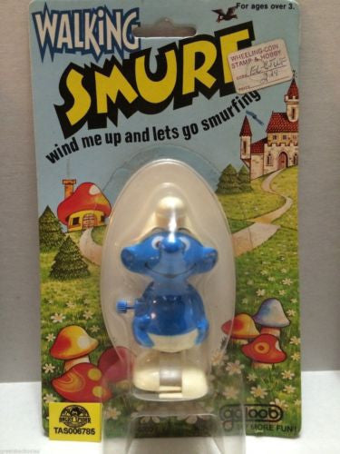 (TAS006785) - Walking Smurf Wind Me Up & Lets Go Smurfing - Galoob, , Other, The Smurfs, The Angry Spider Vintage Toys & Collectibles Store