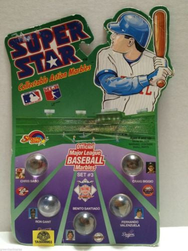 (TAS006953) - 1990 Spectra Star Super Star Baseball Marbles - Set #3, , Marbles, Spectra Star, The Angry Spider Vintage Toys & Collectibles Store