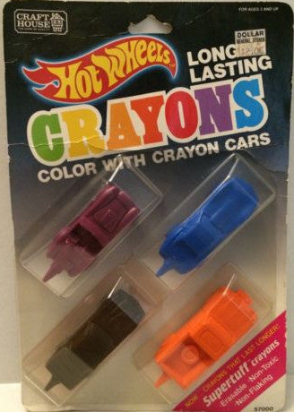 (TAS003553) - Hot Wheels Long Lasting Crayons - Color with Crayon Cars, , Crayons, Hot Wheels, The Angry Spider Vintage Toys & Collectibles Store