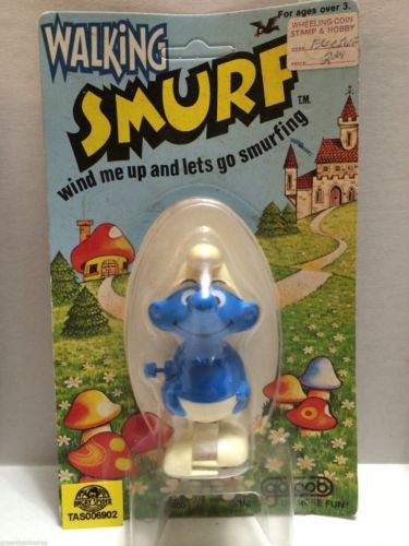 (TAS006902) - Walking Smurf Wind Me Up and Lets Go Smurfing - Galoob, , Other, The Smurfs, The Angry Spider Vintage Toys & Collectibles Store