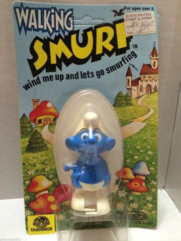 (TAS006828) - Walking Smurf Wind Me Up and Lets Go Smurfing - Galoob, , Other, The Smurfs, The Angry Spider Vintage Toys & Collectibles Store