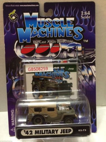 (TAS030806) - Muscle Machines Die Cast Car - '42 Military Jeep, , Cars, Muscle Machines, The Angry Spider Vintage Toys & Collectibles Store