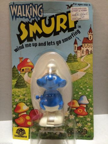 (TAS006818) - Walking Smurf Wind Me Up and Lets Go Smurfing - Galoob, , Other, The Smurfs, The Angry Spider Vintage Toys & Collectibles Store