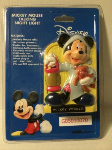 (TAS030534) - KNG America Mickey Mouse Talking Night Light - Mickey Mouse, , Lights & Lamps, Disney, The Angry Spider Vintage Toys & Collectibles Store