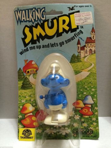 (TAS006807) - Walking Smurf Wind Me Up & Lets Go Smurfing - Galoob, , Other, The Smurfs, The Angry Spider Vintage Toys & Collectibles Store