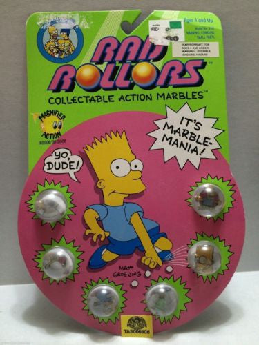(TAS006908) - 1990 Spectra Star Rad Rollors Action Marbles - The Simpsons, , Marbles, Spectra Star, The Angry Spider Vintage Toys & Collectibles Store