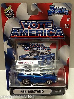 (TAS030815) - Funline Muscle Machines Vote America Die Cast Car - '66 Mustang, , Cars, Muscle Machines, The Angry Spider Vintage Toys & Collectibles Store