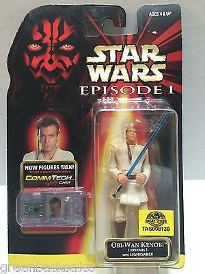 (TAS008139) - Hasbro Star Wars Episode 1 CommTech Clip Figure - Obi-Wan Kenobi, , Action Figure, Star Wars, The Angry Spider Vintage Toys & Collectibles Store
