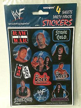 (TAS000048) - WWE WWF WCW Wrestling 4 Party Favor Stickers, , Party, Wrestling, The Angry Spider Vintage Toys & Collectibles Store