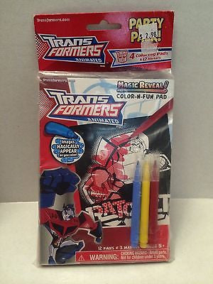 (TAS030673) - Transformers Animated Party Pack - Magic Reveal Color-N-Fun Pad, , crayons, Transformers, The Angry Spider Vintage Toys & Collectibles Store