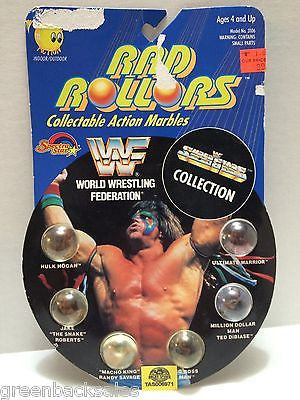 (TAS006971) - 1990 Spectra Star WWF Rad Rollors Marbles - Ultimate Warrior, , Marbles, Spectra Star, The Angry Spider Vintage Toys & Collectibles Store