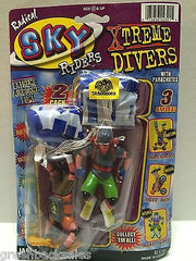 (TAS008069) - JARU Radical Sky Riders Xtreme Divers w/ Parachutes Figures, , Action Figure, n/a, The Angry Spider Vintage Toys & Collectibles Store