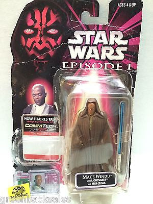 (TAS009502) - Star Wars Episode I  - Mace Windu with Lightsaber & Jedi Cloak, , Action Figure, Star Wars, The Angry Spider Vintage Toys & Collectibles Store