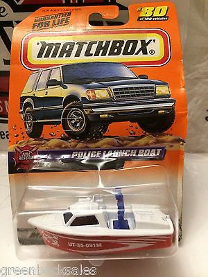 (TAS031543) - Matchbox Toy Car - Police Launch Boat, , Cars, Matchbox, The Angry Spider Vintage Toys & Collectibles Store