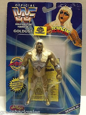 (TAS008067) - WWF WWE WCW nWo Wrestling JusToys Bend-Ems Action Figure - Goldust, , Action Figure, Wrestling, The Angry Spider Vintage Toys & Collectibles Store