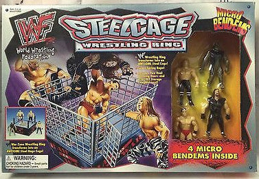 (TAS001113) - WWF Steelcage Wrestling Ring w/ 4 Micro Bendems, , Action Figure, Wrestling, The Angry Spider Vintage Toys & Collectibles Store