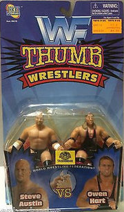 (TAS006040) - WWF WCW Wrestling Jakks Thumb Wrestlers - Steve Austin & Owen Hart, , Action Figure, Wrestling, The Angry Spider Vintage Toys & Collectibles Store