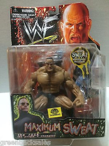 (TAS031624) - WWE WWF WCW nWo Wrestling Maximum Sweat Action Figure - The Rock, , Action Figure, Wrestling, The Angry Spider Vintage Toys & Collectibles Store