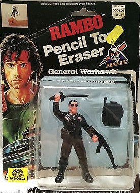 (TAS006523) - Rambo Pencil Top Eraser - General Warhawk, , Erasers, n/a, The Angry Spider Vintage Toys & Collectibles Store