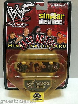 (TAS008496) - WWF WWE Similar Device Fast Action Mini Skateboard - The Rock, , Action Figure, Wrestling, The Angry Spider Vintage Toys & Collectibles Store